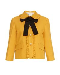 Gucci | Yellow Ruffled-Trim Silk and Wool-Blend Jacket | Lyst