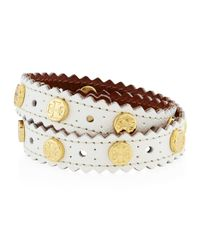 Tory Burch - White Perforated Double-wrap Leather Logo Bracelet - Lyst