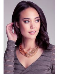 Bebe - Red Chain Link Necklace - Lyst