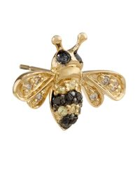 Sydney Evan | Metallic Mini Gold And Diamond Bumblebee Single Earring | Lyst
