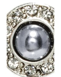 Oscar de la Renta - Metallic Black Glass Pearl And Diamond Stud Earrings - Lyst