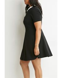 Forever 21 - Black Plus Size Contrast Collar Fit & Flare Dress You've Been Added To The Waitlist - Lyst