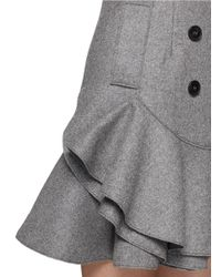 Alexander McQueen - Gray Peplum Hem Double Breasted Wool Felt Coat - Lyst