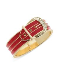 Guess - Goldtone Pave Stone Red Buckle Bangle Bracelet - Lyst