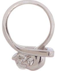 Alexander McQueen - Metallic Silver Feed_through Skull Ring for Men - Lyst