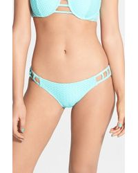 Volcom | Blue 'love & Haight' Cutout Bikini Bottoms | Lyst