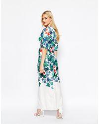 True Violet - Blue Kimono Sleeve Maxi Dress In Statement Floral Print - Multi - Lyst