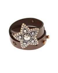 Lanvin | Brown Elsie Wrap-Around Leather Cuff | Lyst