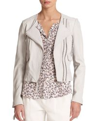 Joie - White Vivianette Cropped Leather Jacket - Lyst