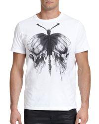 DIESEL - White Skull Butterfly-print Cotton Tee for Men - Lyst