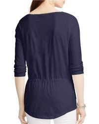Lauren by Ralph Lauren | Blue Drawcord Cotton Tunic | Lyst