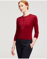 Ann Taylor - Red Petite Long Sleeve Tee - Lyst
