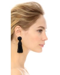 Oscar de la Renta - Blue Short Tassel Earrings - Bright Navy - Lyst