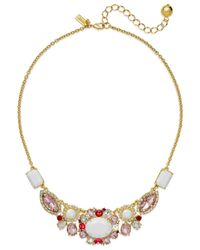 Kate Spade | Pink 12k Gold-plated Multi-stone Frontal Necklace | Lyst