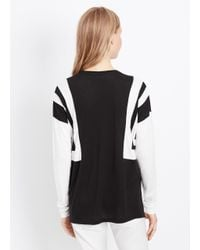 VINCE | Black Optic Stripe Long Sleeve Tee | Lyst