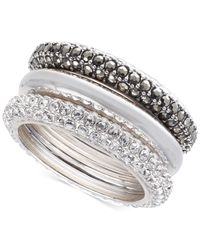 Judith Jack | Metallic Sterling Silver Marcasite And Crystal 3-Pc. Ring Set | Lyst