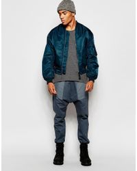 ASOS - Blue Drop Crotch Joggers In Lightweight Fabric With Pockets for Men - Lyst