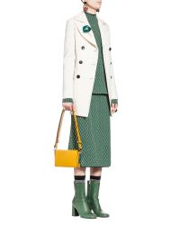 Marni | White Double-breasted Jacket In Cordura Wool Crepe With Back Slit | Lyst