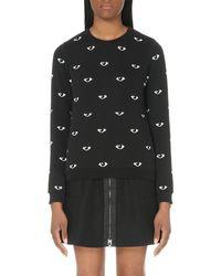 KENZO - Black Eye-print Cotton-jersey Sweatshirt - Lyst