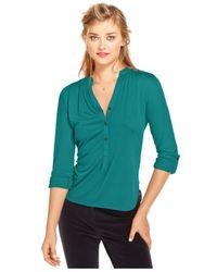 Maison Jules - Green Three-Quarter-Sleeve V-Neck Top - Lyst