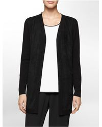 Calvin Klein | Black White Label Ultra Suede Open Front Cardigan | Lyst