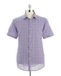John Varvatos - Purple Checkered Button-down Shirt for Men - Lyst