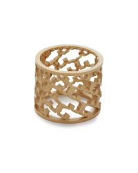 Tory Burch | Metallic Perforated Serif T Ring - Shiny Gold | Lyst