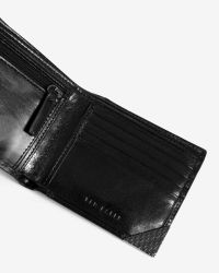Ted Baker - Black Metal Corner Leather Bi-fold Wallet for Men - Lyst