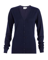 Sunspel - Blue Women's Fine Merino V-neck Cardigan - Lyst