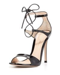 Gianvito Rossi - Black Ankle-Wrap Patent-Leather Sandals - Lyst