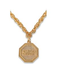 Moschino - Metallic Shop Sign Golden Pendant Necklace - Lyst
