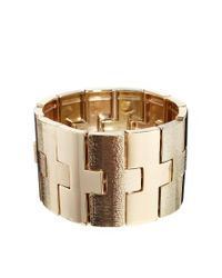 French Connection | Metallic Etched Metal Stretch Bracelet | Lyst