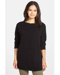 Eileen Fisher | Black Bateau Neck Cashmere Tunic Sweater | Lyst