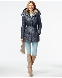 Vince Camuto | Gray Faux-fur-collar Down Puffer Coat | Lyst