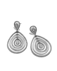 David Yurman   Metallic Cable Classics Drop Earrings With Diamonds   Lyst