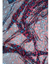 McQ | Purple New Animal Blue And Pink Silk Scarf | Lyst