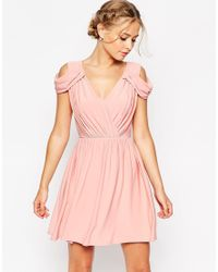 ASOS - Pink Wedding Drape Cold Shoulder Mini Dress - Lyst
