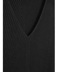 Mango - Black Ribbed Long Dress - Lyst