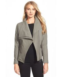 T Tahari | Gray 'Trisha' Drape Front Leather Jacket | Lyst