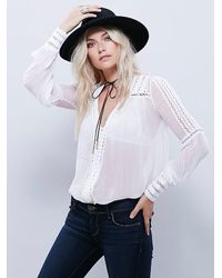 Free People   White Silver Soul Peasant Top   Lyst