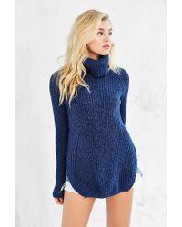 Silence + Noise - Blue Harley Shirttail Turtleneck Sweater - Lyst
