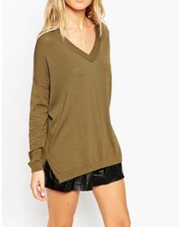 ASOS | Jumper With V Neck And Side Splits In Structured Knit | Lyst