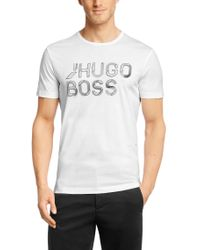 BOSS Green | White T-shirt 'teeos' With A Round Neckline for Men | Lyst