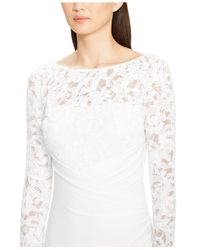 Lauren by Ralph Lauren - White Faux-Wrap Sequined-Lace Gown - Lyst