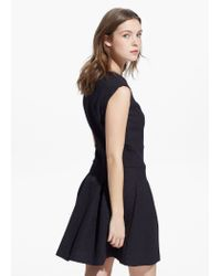 Mango | Black Pleated Detail Dress | Lyst