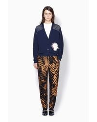 3.1 Phillip Lim - Blue Cardigan With Mesh Inset And Poodle Patch - Lyst