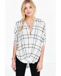 BDG - White Structured Surplice-front Button-down Shirt - Lyst