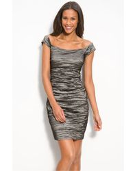 Alex Evenings | Metallic Stretch Taffeta Cocktail Dress | Lyst