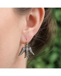 Sylva & Cie - Metallic Diamond Dove Earrings - Lyst
