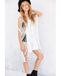 Truly Madly Deeply - White Showstopper Destroyed Tee Dress - Lyst